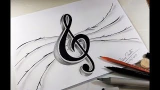 COMO DESENHAR NOTA MUSICAL (CLAVE DE SOL) - PASSO A PASSO