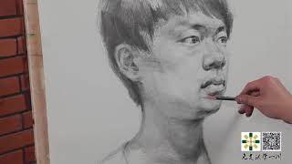 Portrait of a Boy Drawing in Pencil