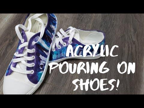 Acrylic Pouring on Shoes! UNIQUE fluid art!