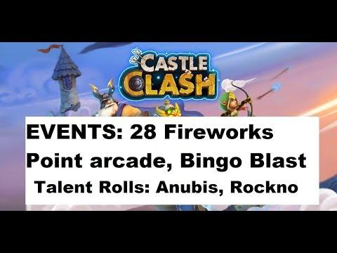 28 Fireworks, Point Arcade, Bingo Blast. Talent Rolls For Anubis, Rockno Castle Clash