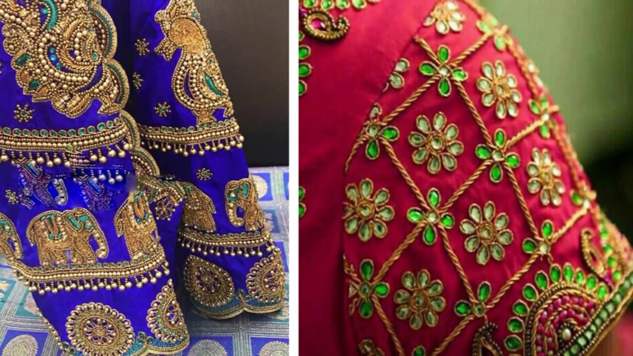 beac14bec0dbc6 Beautiful Embroidery Work Blouse Design For Silk Saree 2018 | Aari | Maggam  Work | Party Wear Blouse