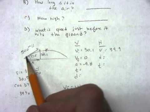 Projectile Motion Worksheet 3 Problem 1 - YouTube