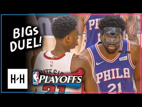 Joel Embiid vs Hassan Whiteside INTENSE Duel Highlights 2018 Playoffs Game 4 - EPIC!
