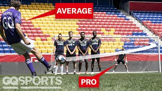 Can an Average Guy Score a Free Kick Against a Pro Soccer Goalie? | Above Average Joe | GQ