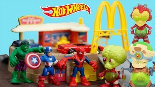 HOT WHEELS MCDONALD'S DRIVE THRU HULK SPIDERMAN VS ALIENS EXOGINI