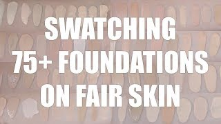 SWATCHING ALL MY FOUNDATIONS | Fair Skin Foundation Swatches