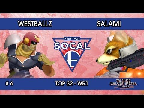 Fight For SoCal 6 - Westballz (Captain Falcon / Fox / Falco) VS Salami (Fox) - SSBM - Top 32 (WR1)