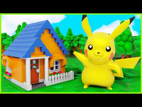 POKEMON Pikachu Displays How to Build a Lego Lodge House - Inspirational DIY Animation