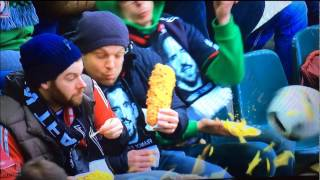 Ball vs food! Amazing Fail! One of the funniest moments in football/soccer history!