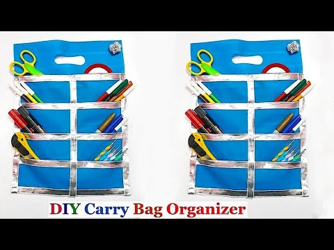 DIY Organizer from shopping carry bag|Best out of waste carry bag organizer idea