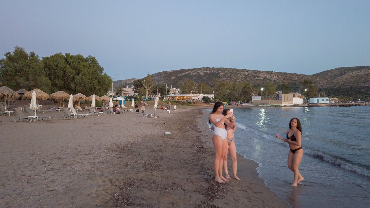 Sunset walk at Anavyssos beach, in Athens Greece