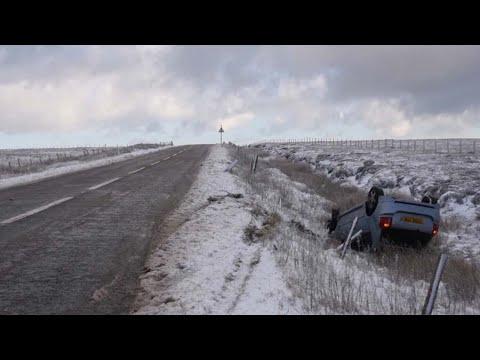Snow Hits UK From Storm Caroline