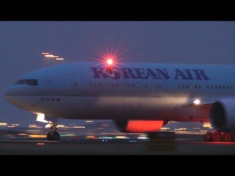 ᴴᴰ ✈ Korean B777 Night-Takeoff - GREAT SOUND!