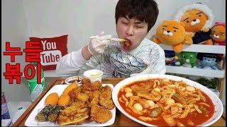 BJ꽃돼지 누들볶이+모듬튀김+사이다 매움 ㅠ 먹방 mukbang eating show