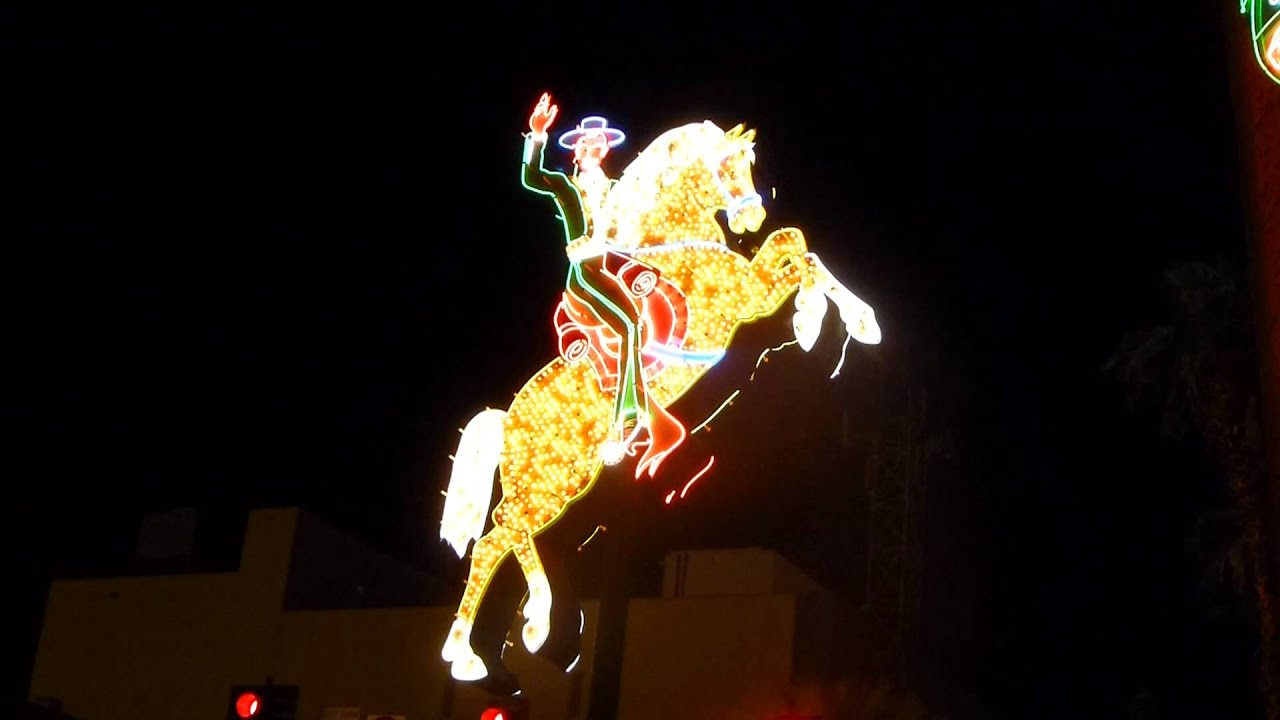 Stock footage welcome to fabulous las vegas sign with flashing lights - Las Vegas Cowboy On A Horse Made Of Flashing Lights