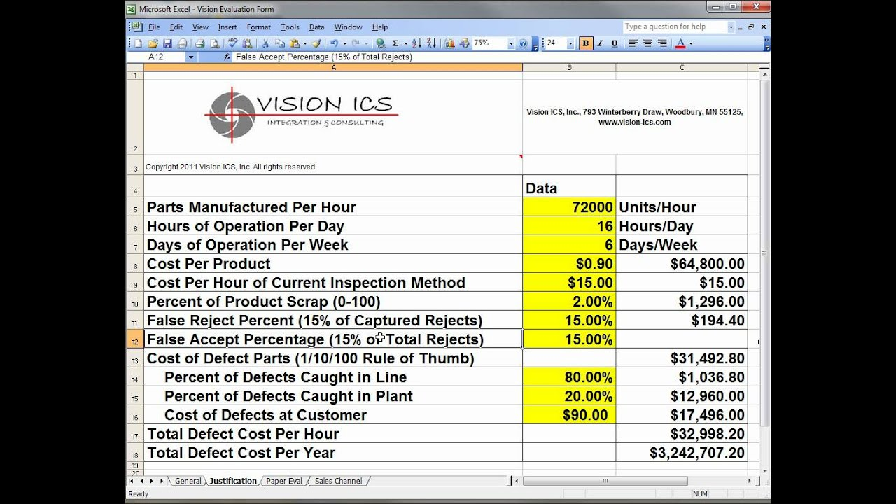Worksheets Roi Worksheet roi calculation for machine vision systems youtube systems