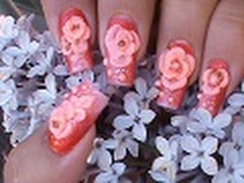 3 D Acrylic Roses Nail Art Design Tutorial Youtube