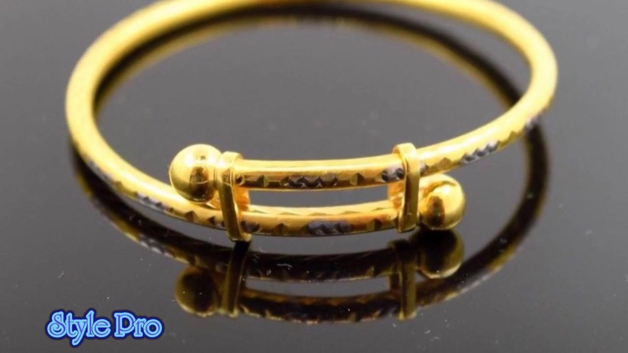 8f0575d155ce5f Latest Gold Adjustable Baby Bangles Newborn Bracelets - YouTube