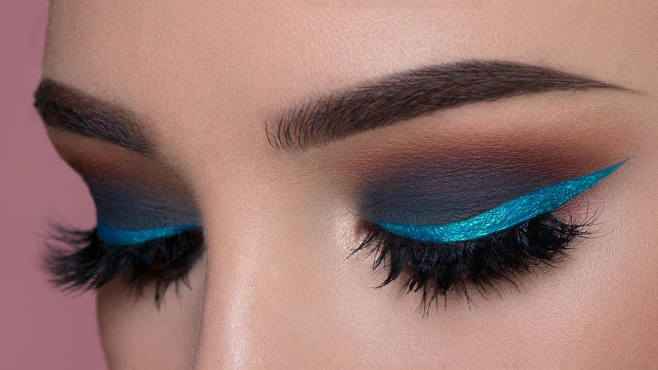 Dark Gray Smokey Eye Shimmery Blue Eyeliner Makeup Tutorial Youtube