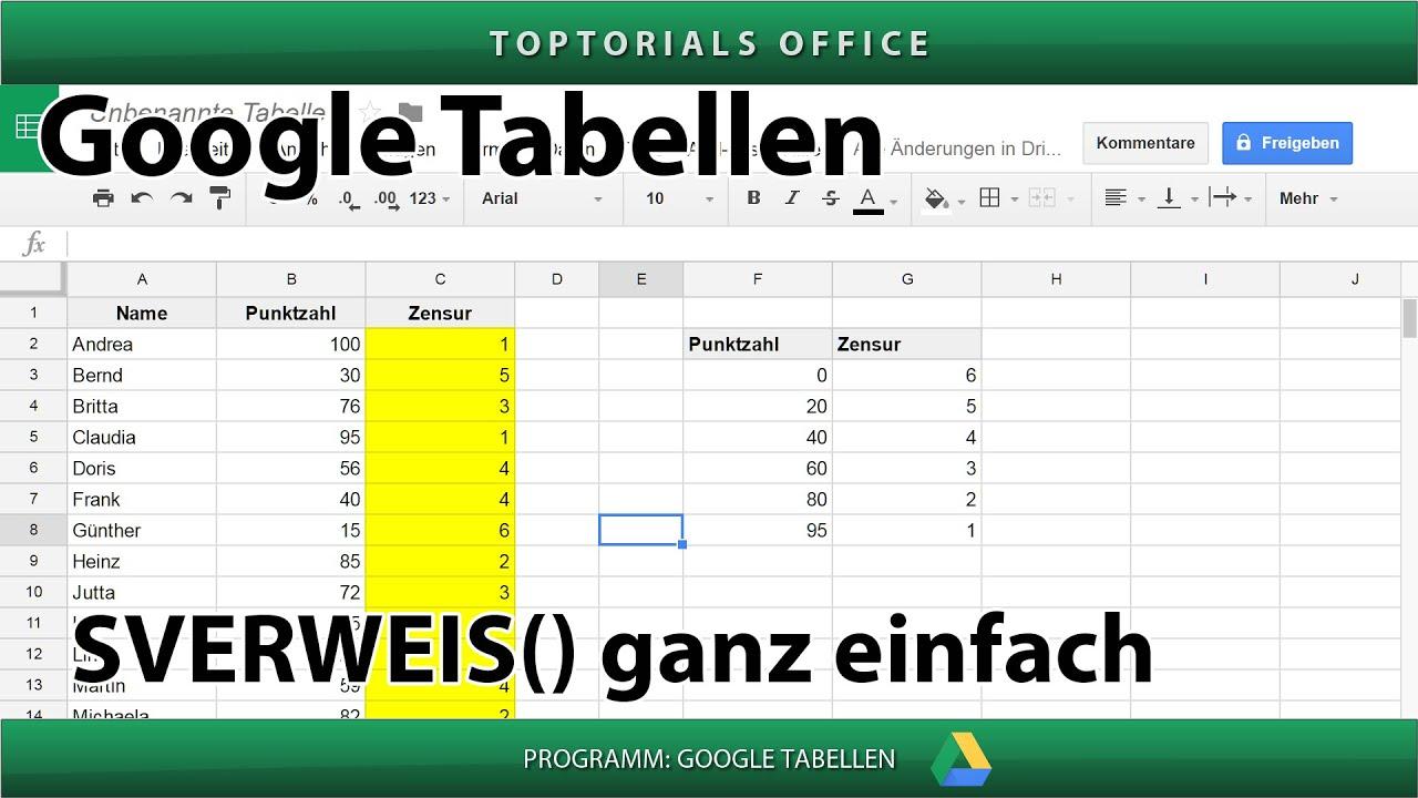 SVERWEIS ganz einfach ( Google Tabellen / Spreadsheets ) - YouTube
