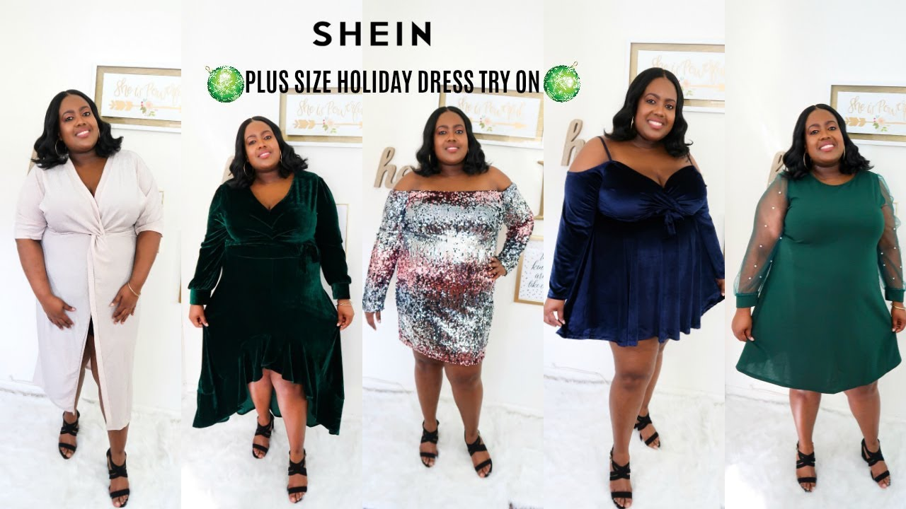 c0edfa3364 SHEIN HOLIDAY DRESS PLUS SIZE TRY ON HAUL| PLUS SIZE FASHION - YouTube