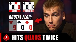 Russian Player Hits DOUBLE QUADS ♠️ PokerStars