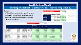 Excel & Business Math 32: Rounding Time Calculations to Nearest 5 or 15 minutes using MROUND