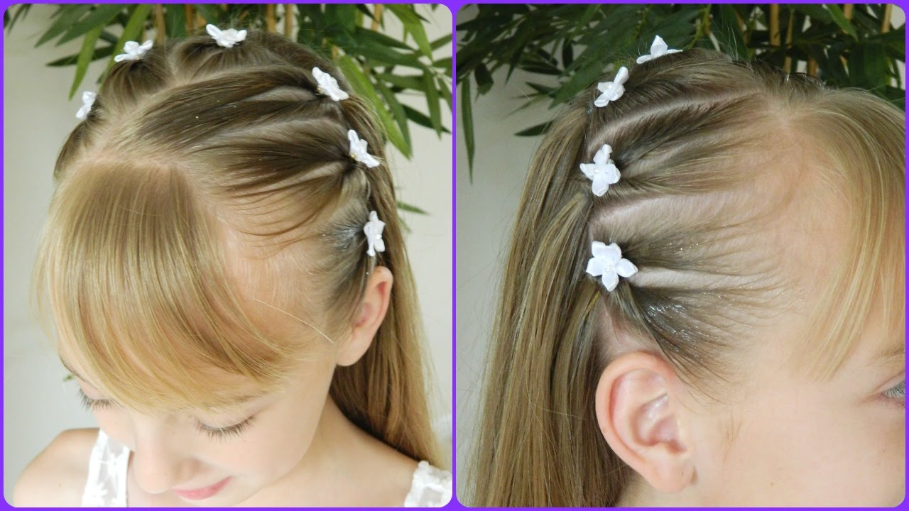 first communion hairstyle 1/3 / upside down pigtails headband