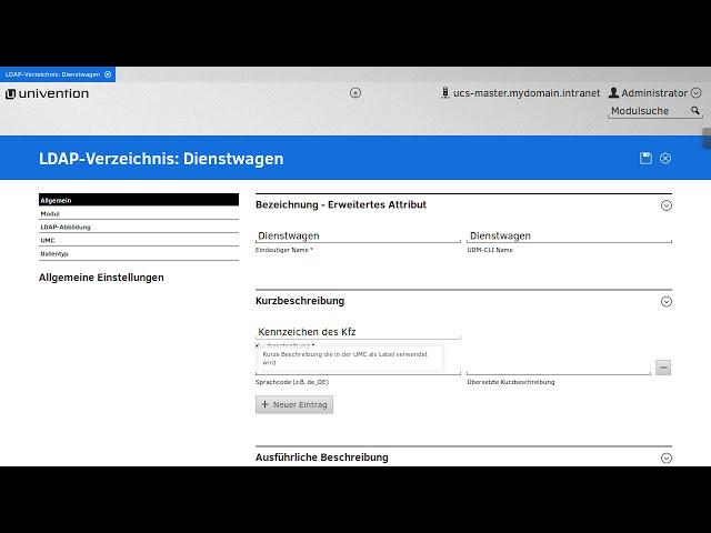 Erweiterte Attribute über die Univention Management Console