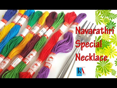 how-to-make-navaratri-special-tassel-necklace-at-home-||-silk-thread-necklace-set-making-tutorial