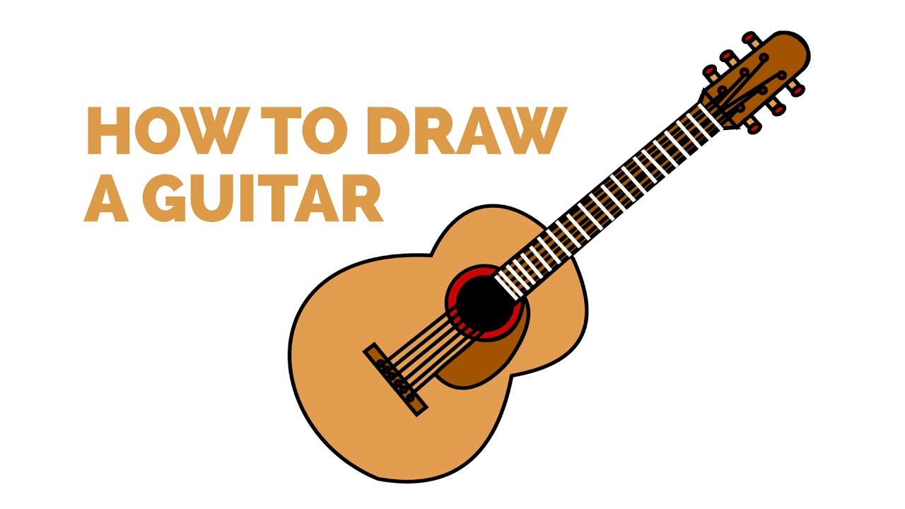 How To Draw An Acoustic Guitar In A Few Easy Steps Drawing Tutorial For Kids And Beginners