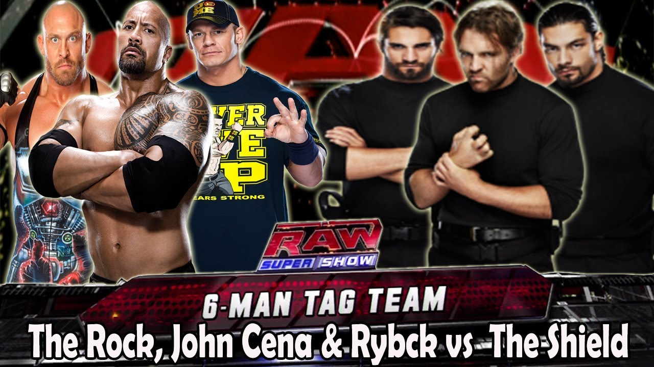 WWE RAW The Rock, Ryback & John Cena vs The Shield Full Match HD