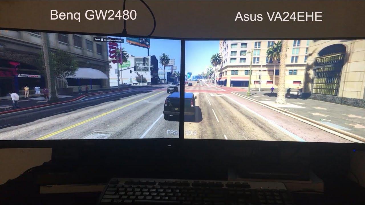Asus VA24EHE vs BenQ GW2480 Gaming Test - GTA 5 - YouTube