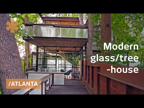 "Owner-built Atlanta glass ""treehouse"" floats among hardwoods"
