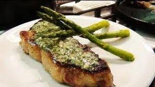 ny strip steak  wjth a blue cheese sauce