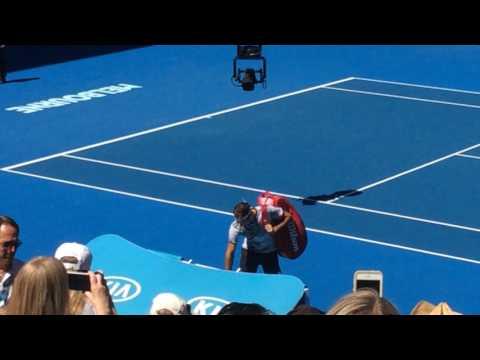 Australian travel: AO 2017, round 2, R. Federer (SUI) v N. Rubin (USA), entrance in the game