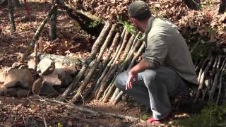 Survival Shelter - Lean To And Debris Shelter Transition