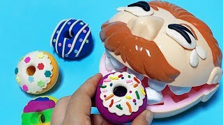 Feeding Mr. Play Doh Head  Rainbow Donuts, Learn Colors with  Donuts | Happy Toys 2