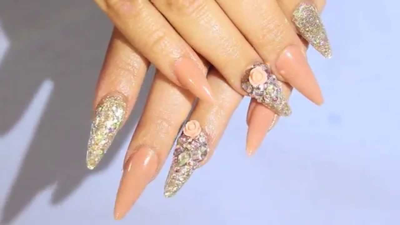 Acrilyc nails precious gems mix bellas nails design youtube prinsesfo Image collections