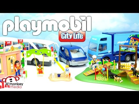 Playmobil City Life and City Action!  Preschool Playground, Dog Park, Delivery Truck and More!