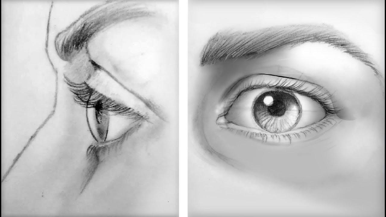 أسهل طريقة لرسم العين من الامام ومن الجانب للمبتدئين Youtube