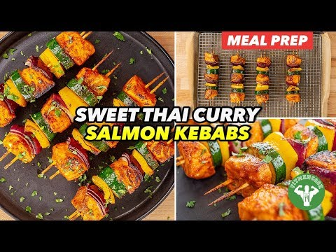 Meal Prep Red Curry Salmon Kebabs