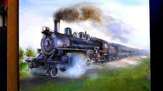 How I drew a steam locomotive (Drawing locomotive)