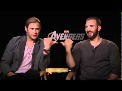 Chris Hemsworth Chris Evans Exclusive interview by Monsieur Hollywood 'The Avengers'