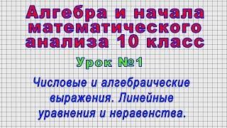 Алгебра 10 класс (Урок№1 - Числовые и алгебраические выражения. Линейные уравнения и неравенства.)