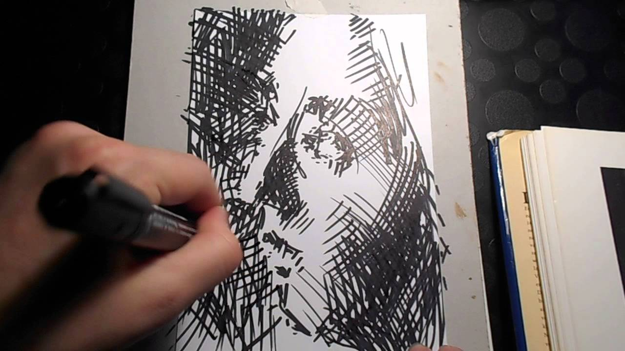 Permanent marker drawing after Vermeer - YouTube