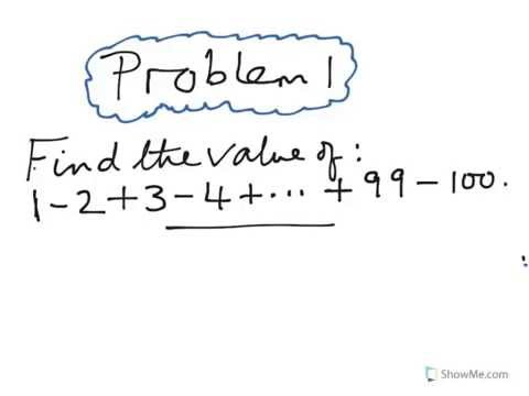 Problem Solving Made Easy. Value of 1-2+3-4+...+99-100