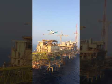 working in offshore helicopter landing and takeoff