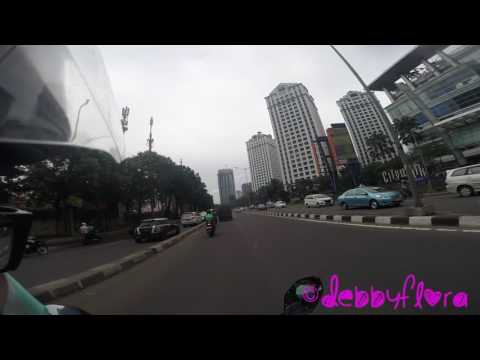 Riding a fly-over in Jakarta and enjoying the amazing view of the city skyline 2017 (Full-HD)