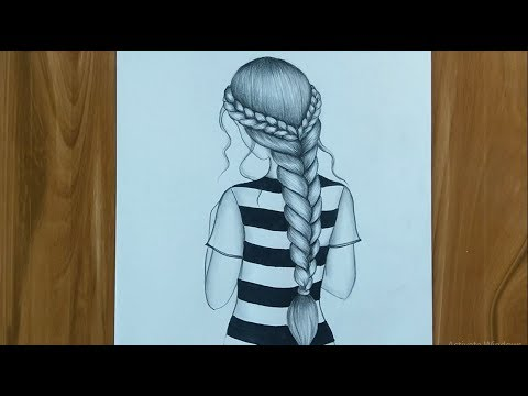How To Draw A Girl With French Braids Youtube
